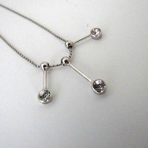 Jewelry - 925 Sterling Silver Three Rhinestone Necklace
